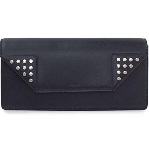 Yves Saint Laurent Black Leather Large Clutch Bag