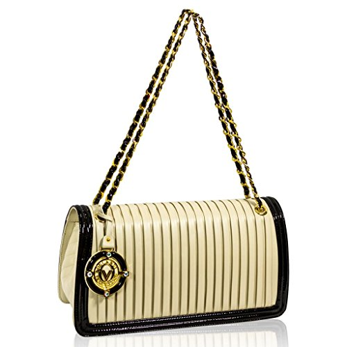 Valentino Orlandi Italian Designer Cream/Black Plisse Leather Clutch Bag w/Chain