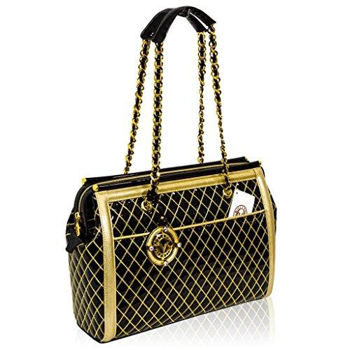 Valentino Orlandi Italian Designer Black w/Gold Quilting Leather Bag w/Chain