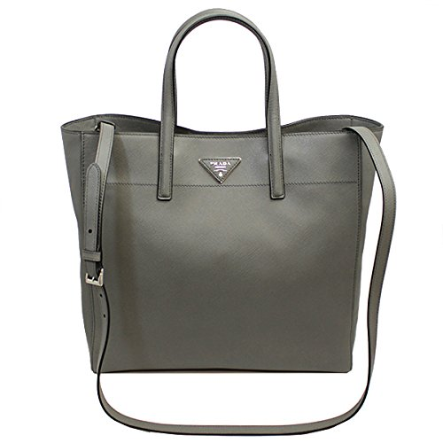 Prada Women's Gray Saffiano Leather Tote Bag W/strap Bn2666