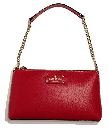 Kate Spade Wellesley Byrd Pillbox Red Leather Clutch WKRU1427