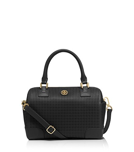 Tory Burch robinson PERFORATED MIDDY SATCHEL in Black