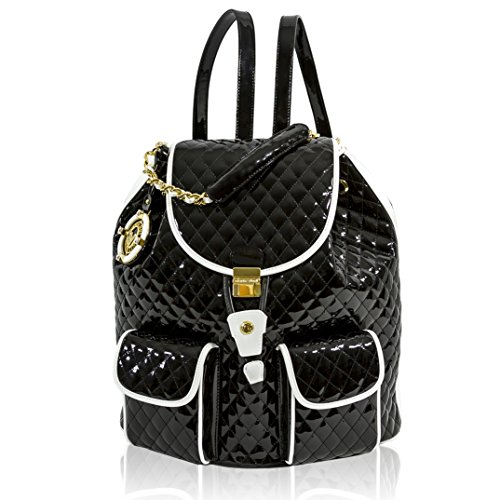Valentino Orlandi Italian Designer Black/White Quilted Leather Backpack Purse Bag
