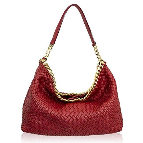 Ghibli Italian Designer Red Intrecciato Leather Slouchy Purse Bag w/Chain