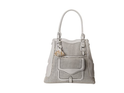 Jessica Simpson Womens Mercer Perforated Tote, Light Grey, One Size