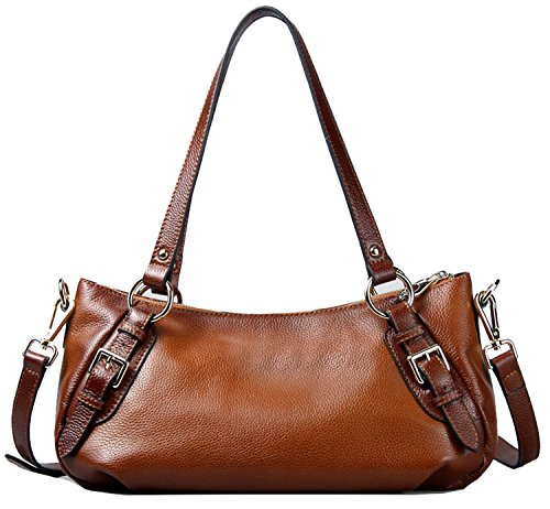 Heshe OL Cowhide Genuine Leather Vintage Tote Top-handle Shoulder Crossbody Bag Satchel Purse Handbag for Women