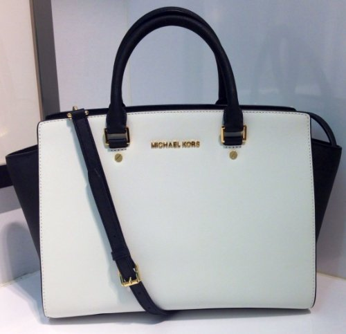 Michael Kors Selma Large White / Black Top Zip Leather Satchel 30T3MLMS7T NEW