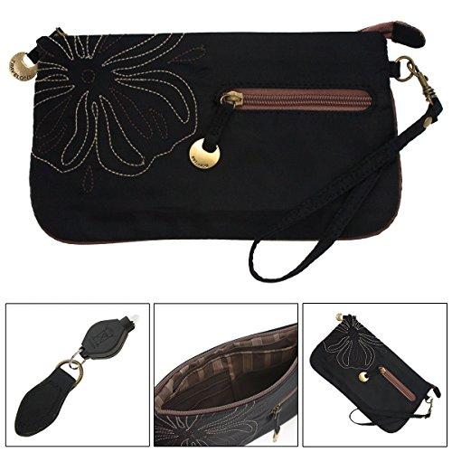 Travelon Zip Top Flower Embroidered Clutch Nylon Black Travel Wallet Wristlet