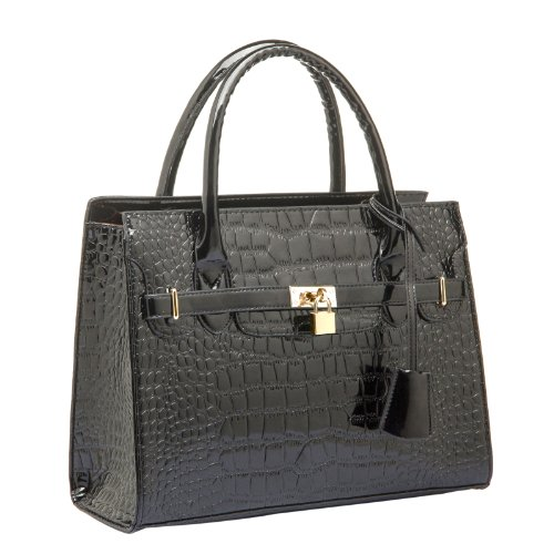 MG Collection HESSA High Gloss Black Décor Lock Office Tote Handbag