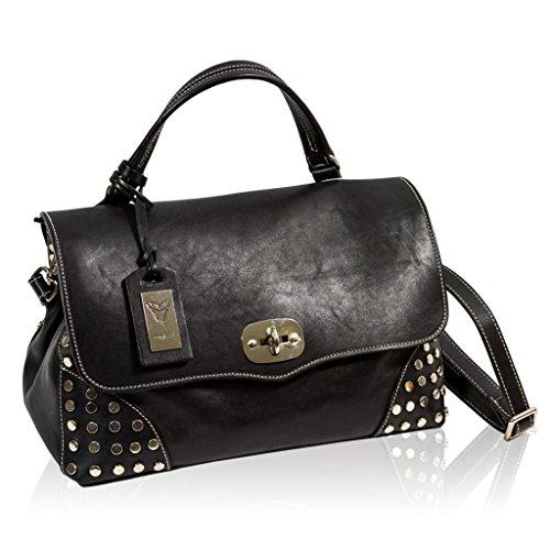Ghibli Italian Designer Black Leather Top Handle Large Crossbody Bag w/Studs