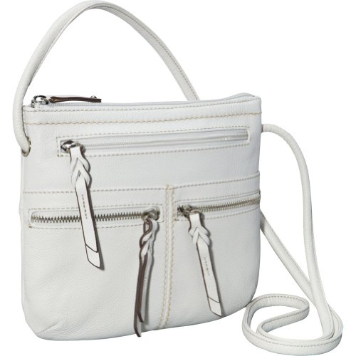 Tignanello Triple Zip Crossbody Bag (White)
