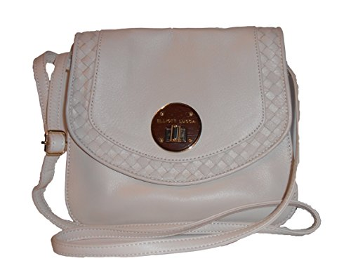 Elliott Lucca Rojo Flap Crossbody in Linen Women's Purse 100% Genuine Leather Off White