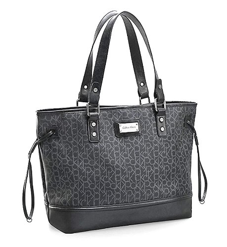 Calvin Klein Simone Maddox Logo Shopper Tote Shoulder Bag Handbag (Black)