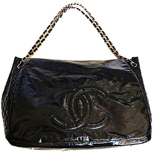 Chanel Large Tote Bag Black Patent Shoulder Bag Chain Straps