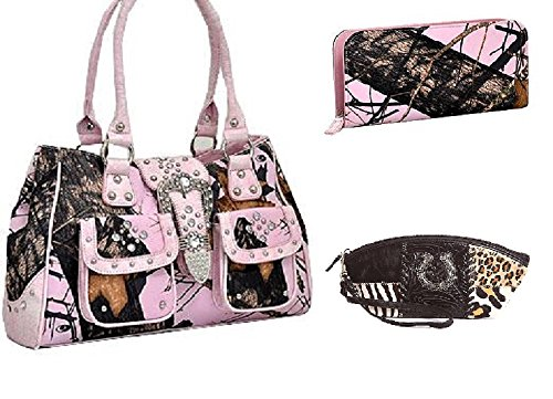 Mossy Oak Camo Rhinestone Saddlebag Purse Wallet Leather Horseshoe Makeup Bag Set Pink
