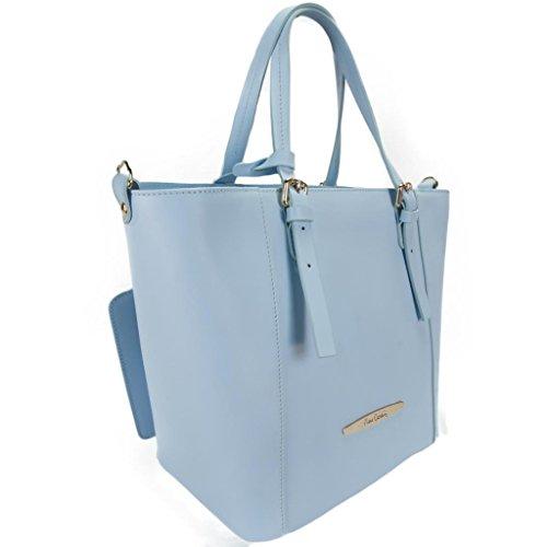 Pierre Cardin 1335 CELESTE Made in Italy Sky Blue Leather Structured Tote/Shoulder Bag