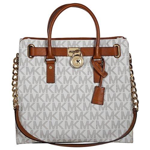 Michael Kors Large Hamilton Women's Handbag Tote Shoulder Bag White