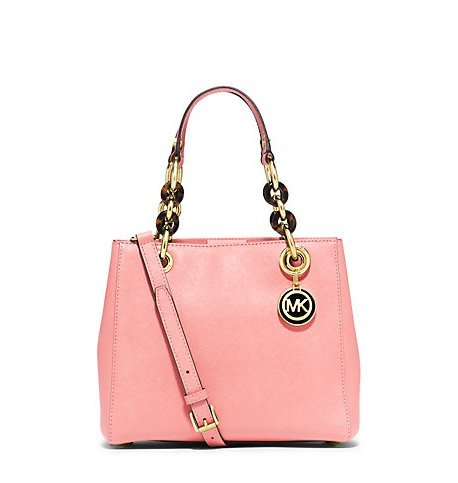 Michael Kors Cynthia Small Leather Satchel in Pale Pink