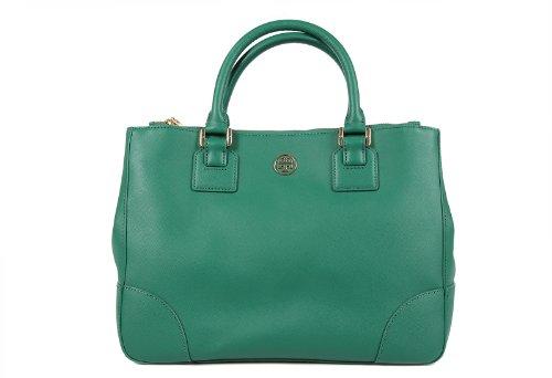 Tory Burch women's leather handbag shopping bag purse robinson green