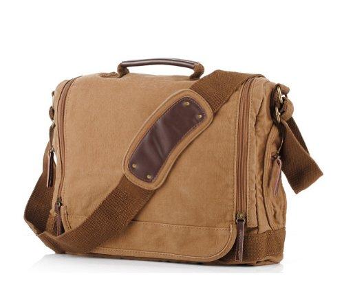 Kattee Designer Canvas Messenger Shoulder Bag Tote, Fit Ipad 14 Inch Laptop