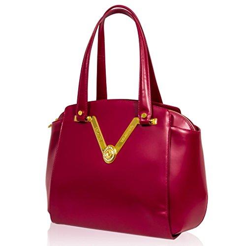 Valentino Orlandi Italian Designer Pink Nappa Leather Gilded Purse Large Bag