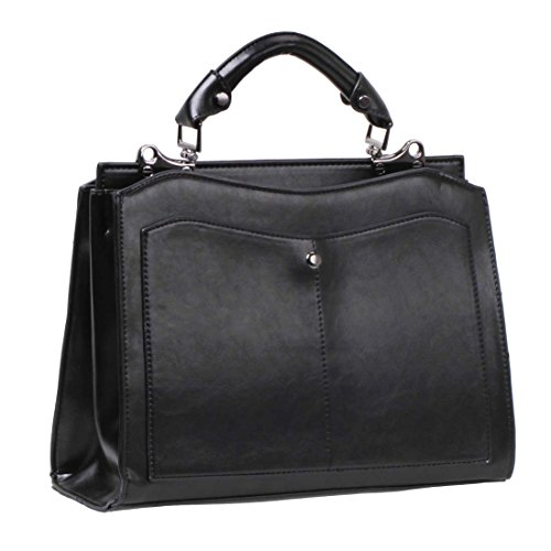 BMC Womens Solid Color PU Faux Leather Double Compartment Professional Handbag