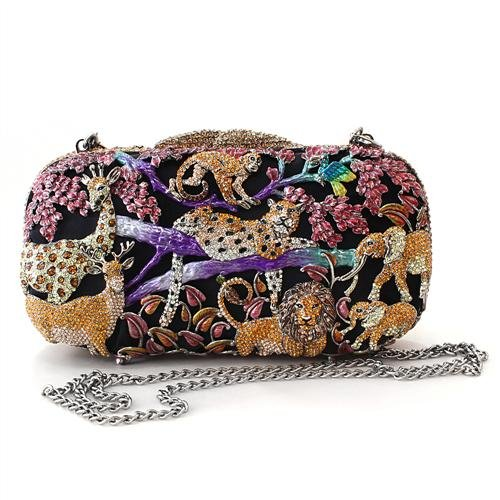 Elaborate Animal Gold Plated Multi Color Crystal Clutch Purse with Chain