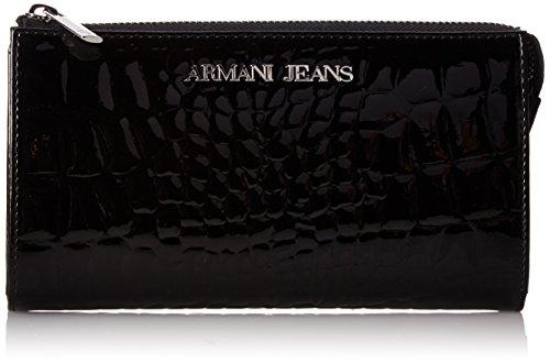 Armani Jeans U3 Saffiano Portafoglio with Patent Details Zipper Wallet, Black, One Size