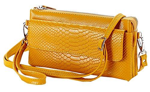 Heshe 100% Soft Genuine Leather Crocodile Clutch Organizer Purse Shoulder Crossbody Wrislet Bag Satchel Purse Handbag for Women