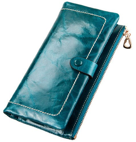 Heshe Luxury Women's Waxy Genuine Leather Zipper Wallet Clutch Purse Card Phone Holder Coin Case