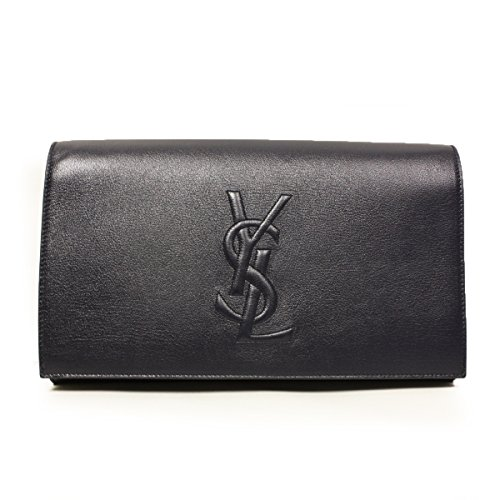 Yves Saint Laurent Ysl Belle De Jour Navy Leather Large Clutch Bag