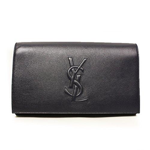 Yves Saint Laurent Ysl Belle De Jour Navy Leather Large Clutch Bag