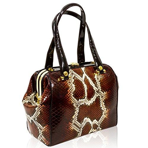 Valentino Orlandi Italian Designer Brown Python Leather Jeweled Doctor Bag