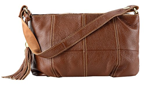 Heshe New Genuine Leather Tassel Vintage Double Use Crossbody Shoulder Bag Satchel Zipper Closure Purse Handbag for Women