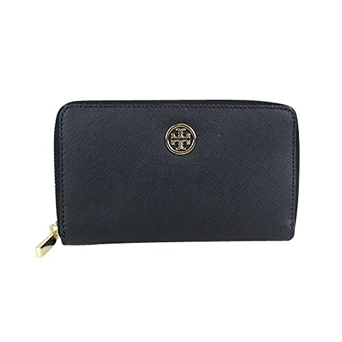 Tory Burch Robinson Saffiano Leather Mini Zip Continental Wallet (Black / Gold)