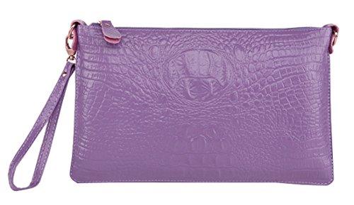 Heshe Women's 100% Genuine Leather Crocodile Clutch Case Wristlet Shoulder Crossbody Bag Satchel Purse Handbag for Ladies