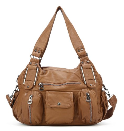 Scarleton Double Zipper Washed Shoulder Bag H1336
