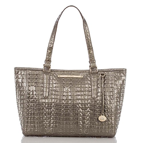 Brahmin Medium Arno Pyrite La Scala Silver Embossed Leather Handbag Tote