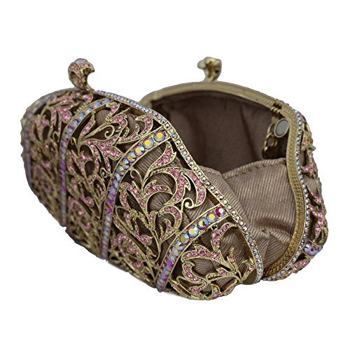 Gold Plated Pink Floral Clutch with Swarovski Element Crystals