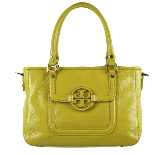 Tory Burch Patent Crinkle Leather Mini Amanda Satchel Green Amber