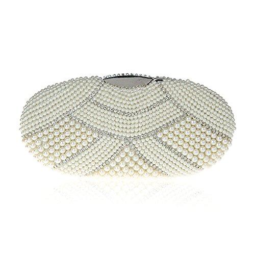 TopTie Stylish Pearls / Rhinestone Minaudiere Case, Bridal Purse