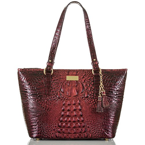 NEW AUTHENTIC BRAHMIN CROCO LEATHER MEDIUM ARNO CARRYALL TOTE (Ember Melbourne)