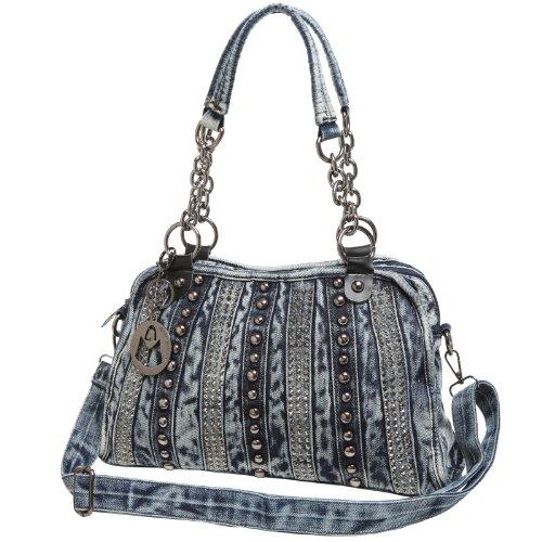 MG Collection DONNA Fashion Studded Blue Denim Purse Satchel Style Handbag
