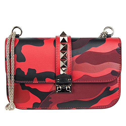 Valentino Garavani Rockstud Lock medium red camo calfskin and canvas shoulder bag