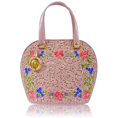 Valentino Orlandi Italain Designer Pink Embroidered Leather Large Purse Bag