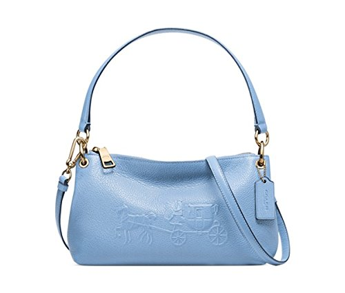 Coach Embossed Horse and Carriage Charley Crossbody in Pebbled Leather Pale Blue