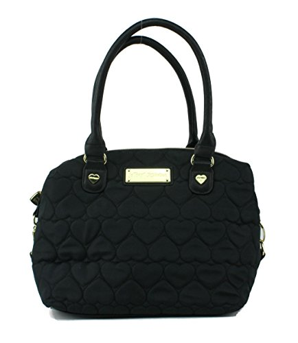 Betsey Johnson Large Be Mine Quilted Heart Satchel – Black