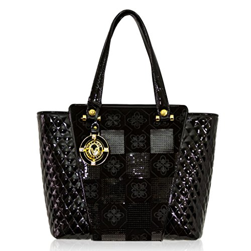 Valentino Orlandi Italian Designer Black Quilted Leather Flared Tote Bag