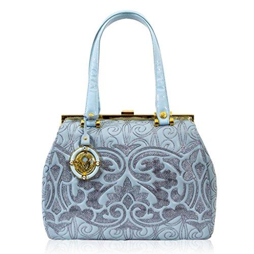 Valentino Orlandi Italian Designer Ice Blue Embroidered Leather Doctor Bag