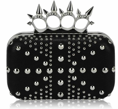 Ladies Black Studs Spikes Knuckles Rings Clutch Evening Bag KCMODE
